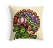 Art nouveau vegetables Throw Pillow