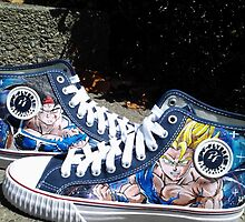 Dragonball Z shoes / Bardock & ssj Goku by colorblind