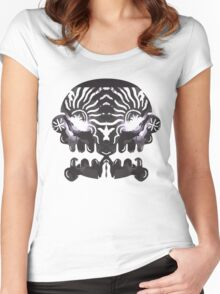 Mirrored Skull. Women's Fitted Scoop T-Shirt