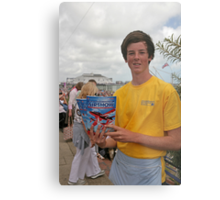 A programme seller at Airbourne in Eastbourne Metal Print
