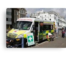 A Red Cross Ambulance ready for duty in Eastbourne Canvas Print
