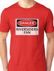 DANGER BLACKBURN ROVERS, RIVERSIDERS FAN, FOOTBALL FUNNY FAKE SAFETY SIGN Unisex T-Shirt