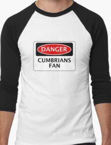 DANGER CARLISLE UNITED, CUMBRIANS FAN, FOOTBALL FUNNY FAKE SAFETY SIGN Men's Baseball ¾ T-Shirt