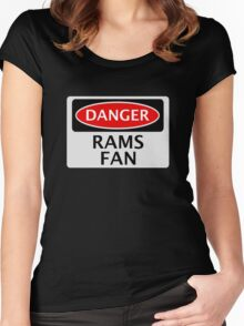 DANGER DERBY COUNTY, RAMS FAN, FOOTBALL FUNNY FAKE SAFETY SIGN Women's Fitted Scoop T-Shirt