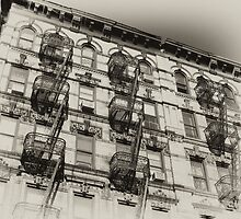 Old NYC tenement house, old sepia postcard by Reinvention
