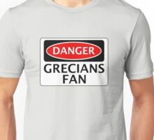 DANGER EXETER CITY, GRECIANS FAN, FOOTBALL FUNNY FAKE SAFETY SIGN Unisex T-Shirt