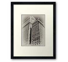 Manhattan Towers of the early 20th Century, old sepia postcard Framed Print