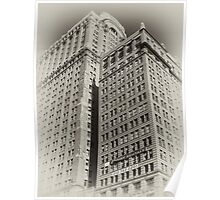 Manhattan Towers of the early 20th Century, old sepia postcard Poster