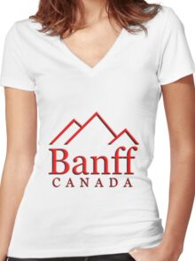 Banff Alberta Canada Logo Women's Fitted V-Neck T-Shirt
