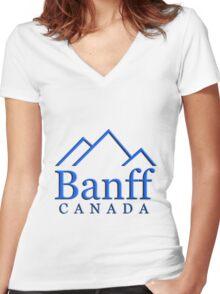 Banff Alberta Canada Logo Women's Fitted V-Neck T-Shirt