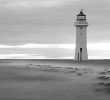 Fort Perch Rock Lighthouse Black and white by Paul Madden