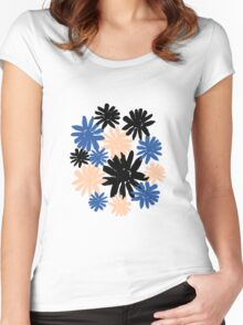 Pink, Blue and Black Floral Pattern Women's Fitted Scoop T-Shirt