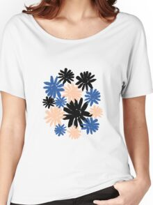 Pink, Blue and Black Floral Pattern Women's Relaxed Fit T-Shirt