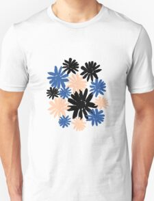 Pink, Blue and Black Floral Pattern Unisex T-Shirt
