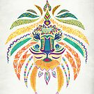 Whimsical Tribal Lion  by Pom Graphic Design