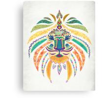 Whimsical Tribal Lion  Canvas Print