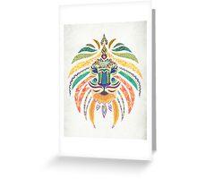 Whimsical Tribal Lion  Greeting Card