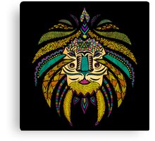 Emperor Tribal Lion Black Canvas Print