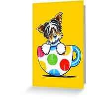 Biewer Yorkie Polka Dot Cup Greeting Card