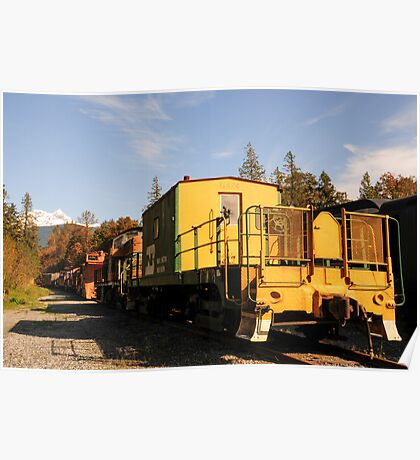 Yellow Old Train Wagon Poster