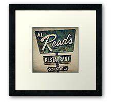 Al Read's Restaurant Vintage Sign Framed Print