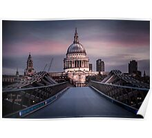 Dawn colour over St Pauls. Poster