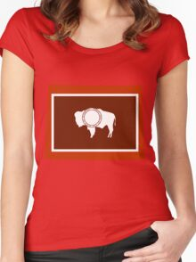 Wyoming [Red Orange] | Flag State | SteezeFactory.com Women's Fitted Scoop T-Shirt