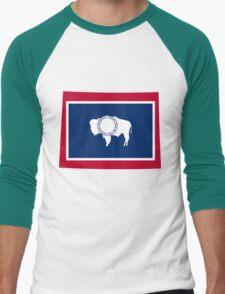 Wyoming   Flag State   SteezeFactory.com Men's Baseball ¾ T-Shirt