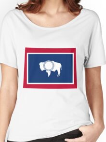 Wyoming | Flag State | SteezeFactory.com Women's Relaxed Fit T-Shirt