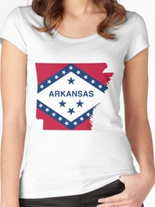 Arkansas | Flag State | SteezeFactory.com Women's Fitted Scoop T-Shirt