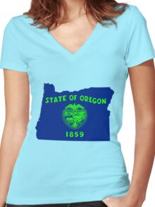 Oregon [Blue Green] | Flag State | SteezeFactory.com Women's Fitted V-Neck T-Shirt
