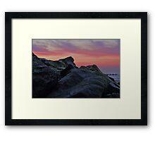 Happisburgh sea defences at sunset Framed Print