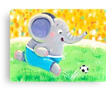 Football Player - Rondy the Elephant playing soccer Canvas Print