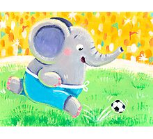 Football Player - Rondy the Elephant playing soccer Photographic Print