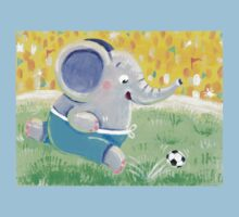Football Player - Rondy the Elephant playing soccer Kids Tee
