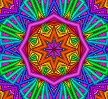 Colourful Kaleidoscope Star, fractal artwork by walstraasart