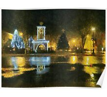 Town Square on December Night Poster