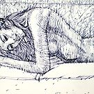 WOMAN ON SOFA -pen portrait by lautir