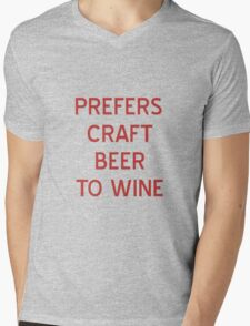 Craft Beer to Wine T-Shirt- CoolGirlTeez Mens V-Neck T-Shirt