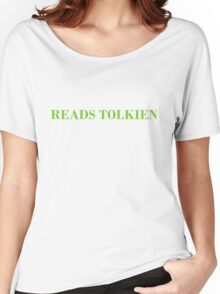 Reads Tolkien T-Shirt - CoolGirlTeez Women's Relaxed Fit T-Shirt