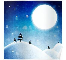 Winter Mountains Moonlight Poster