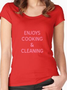 Enjoys Cooking & Cleaning T-Shirt - CoolGirlTeez Women's Fitted Scoop T-Shirt