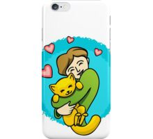 Girl and a cat iPhone Case/Skin