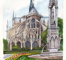 Notre Dame Paris in Spring by Dai Wynn