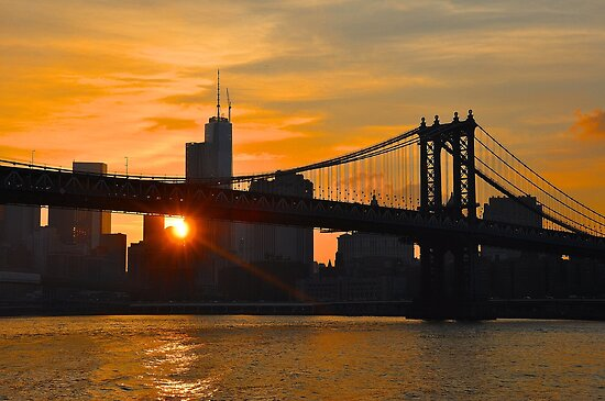 New York City Skyline Sunset...Manhattan bridge! by Poete100