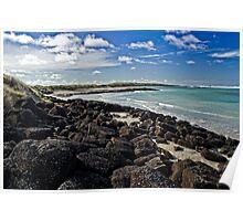 Rocks and beach at Pea Soup bay Poster