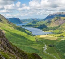 Buttermere and Warnscale Bottom from Green crag, The Lake District, England Sticker
