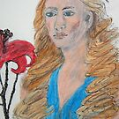 Lady With Red Flower by Zelli