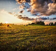 Hay Bales at Sunset by AaronJJones