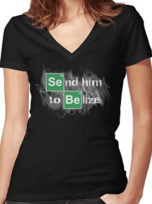 Send him to Belize Women's Fitted V-Neck T-Shirt